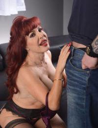 Older redhead pornstar Sexy Vanessa still has the cum draining oral sex skills
