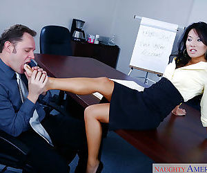 Asian MILF Asa Akira goes wild on cock while alone with her boss