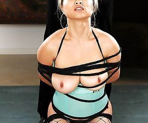 Asian Mia Rider blindfolded for deepthroat session and anal poking