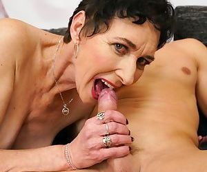 Old woman Pixie sucks the jizz right out of a young boys cock
