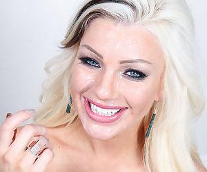 Young blonde Cameron Dee taking sperm facial after deepthroat blowjob