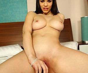 Teen first timer Nekane sheds her black lingerie before toying her pussy