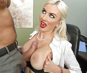 Big tits office lady Gigi Allens has sex in her black stockings