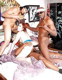 Redhead slut Jodi Taylor fucking 3 black guys and swallowing their jizz too