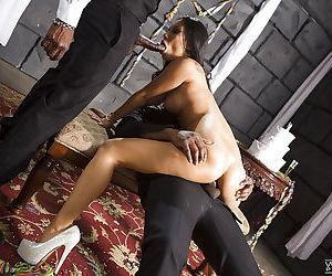 Asian MILF pornstar Asa Akira taking hardcore interracial DP from BBC