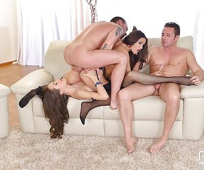 Hot Euro chicks Abril Gerald and Cindy fuck man in hardcore threesome sex