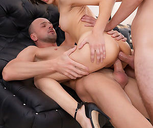 Petite young secretary gets double penetration in rough office threesome