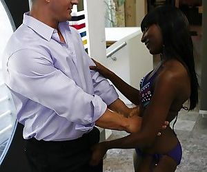 Ebony slut gobbles and fucks a white boner for a load on her face and rack
