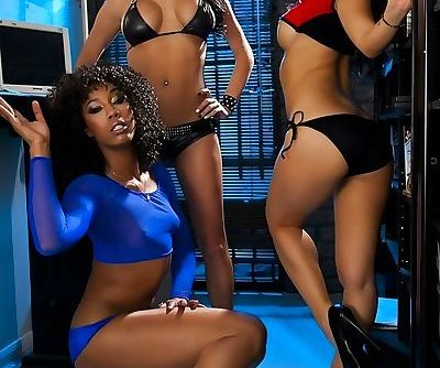 Hotties Alektra Blue- Asa Akira and Misty Stone getting naked