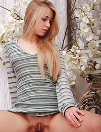 Blonde teen revealing small tits and hairy cunt for glamour shoot