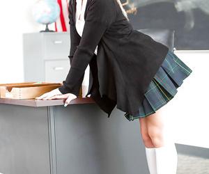 Golden-haired schoolgirl Aubrey Gold posing enjoy a whore in uniform at school