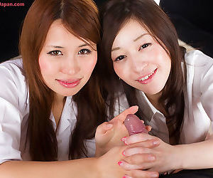 JAV starts lick cum from their fingers after giving a CFNM blowjob together