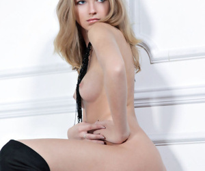 Russian solitary catholic Catherine A models naked more black- surrender make an issue of knee boots