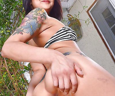 Asian solo girl Saya Song parting hairy muff after bikini removal