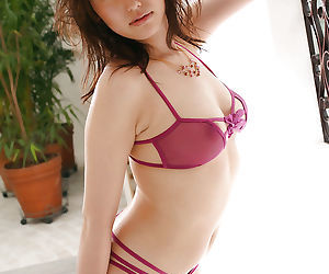 Sexy asian indulge in lingerie Takako Kitahara uncovering their way petite boobs