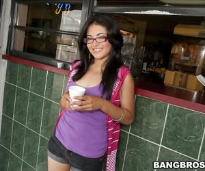 Latina babe with tiny tits Andrea Kelly masturbating her hot cunt