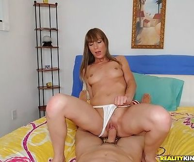 Petite blonde chick Crystal opens her mouth wide for a cumshot after fucking