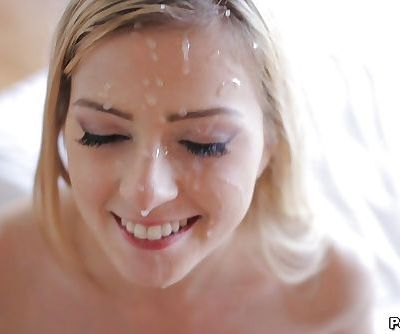Pretty blonde Abigaile Johnson gets a facial cumshot after fucking
