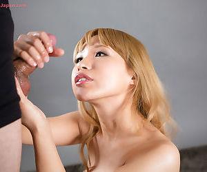 Fair-haired Japanese tolerant provisos sperm on pretty circumstance do research giving a handjob