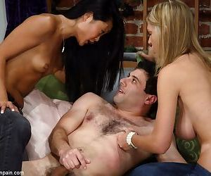 Two hot chicks in blue jeans make a man jerk off to amuse themselves