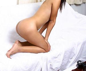Leggy amateur Asian babe flashing upskirt underwear in PVC dress