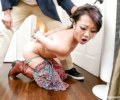 Teen Miko Dai gets painful fucking and choked by her angry landlord