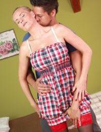Blonde cougar Sevikova taking hardcore cumshot after sharing oral sex
