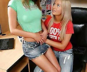 Cute lesbian babes fingering their young twats and buttholes