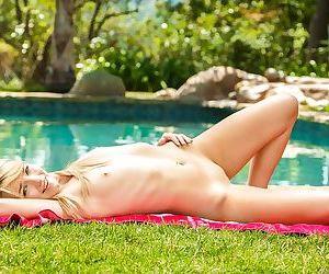 Cute amateur blonde Carmen Callaway flashing her young girl breasts