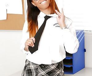 Cute ebony schoolgirl in glasses Teanna showing her body and cunt