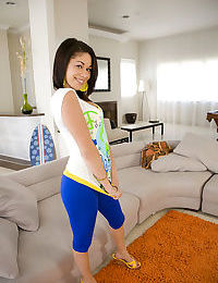 Young Latina Summer Bailey feels her ass and her spread cunt