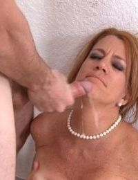 Mature MILF with red hair gets fuck and facialized on her birthday