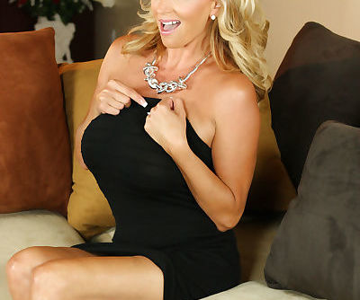Busty hot blonde MILF Rachel Aziani drops her elegant black dress to spread