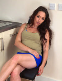 Mature divorcee Mia removes her upskirt panties to air out her beaver