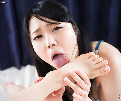 Japanese lesbians in sexy lingerie sucks each others toes and lick soles