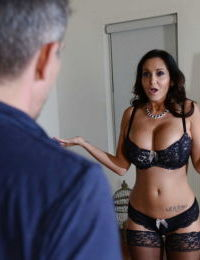 Mature Latina wife Ava Addams has her big tits teased and dose blowjob