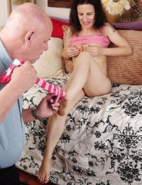 Foot fetish scene features hot long legs of mature brunette Marie
