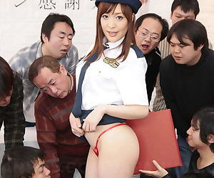 Japanese police force old bag flashes leafless upskirt before dropped alms-man gangbang