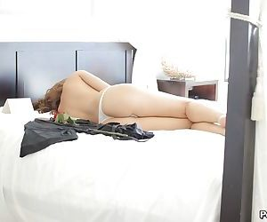 Young girlfriend Karina White enjoys snapshoting her fine ass and tits in solo