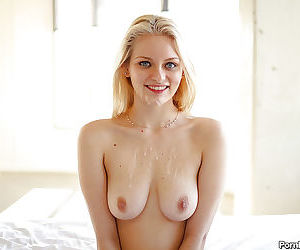 Teen slut Alli Rae sucks off a cock and gets cum on tits and face