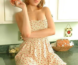 Teen first timer eats a peach with no panties on underneath her dress