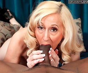 Mature businesswoman Jackie Pierson bangs a BBC to seal the deal