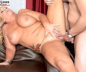 Big boobed granny Zena Rey seduces a young boy one fine afternoon