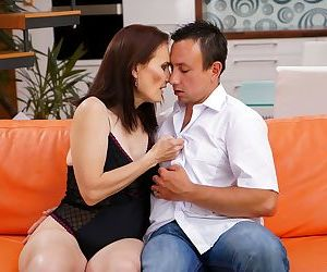Brunette cougar Alice Sharp sucks the jizz from toy boys dick after fucking