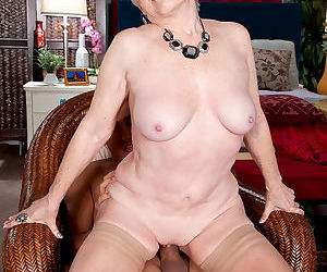 Topless grandmother Jewel bangs her younger Latino lover in tan nylons