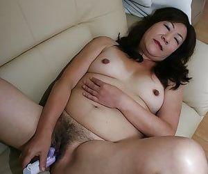 Foremost asian granny Michiko Okawa toying her prudish twat corroboration shower