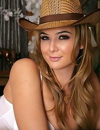 Sexy cowgirl in white lingerie Blair Williams welcomes a dick in her snatch