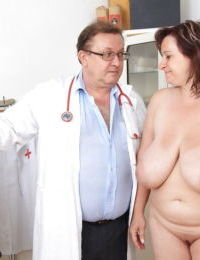 Mature plumper with huge melons gets involved into kinky gyno exams