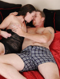 Mautre with big tits Veronica Snow gets banged in her hairy pussy