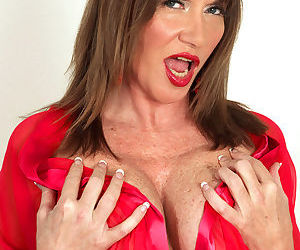 Old mature Josette Lynn in heels undressing for a young stud massage